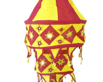 Bulb Shade Lamp Hanging Yellow Maroon Applique Cotton Cloth with Embroidered Sequin Work from Odisha in East India Home Decor Door Hanging