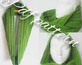 Crochet scarf pattern-infinity scarf, PDF Instant Download crochet Pattern, crochet pattern, Not a finished scarf, DIY