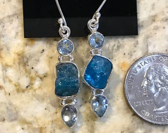Neon Blue Apatite and Blue Topaz Charm Earrings