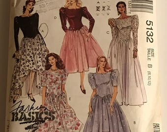 Vintage McCall Sewing Pattern 5132 Bride Bridesmaid Formal Dress Size 8-10-12