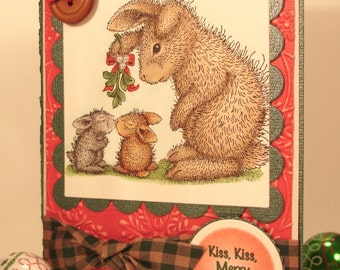 Bunnies Christmas Card with Hand Stamped and Colored Image of Two Bunnies Kissing Under the Mistletoe