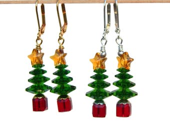 Swarovski Crystal Christmas Tree Earrings, Swarovski Star, Holiday Red and Green Jewelry, Office Party, Gift for Her, Christmas Jewelry