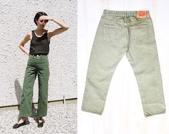 Levis 505 Jeans, Vintage Levis Denim, Straight, Loose, Mom Jeans, Classic, Boyfriend, High Waisted, 29 x 29, Jesse Kamm, Army Green