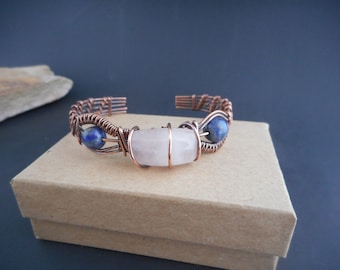Copper Wire Wrapped Rose Quartz, Lapis Lazuli Beads Bracelet Cuff, Gifts For Her