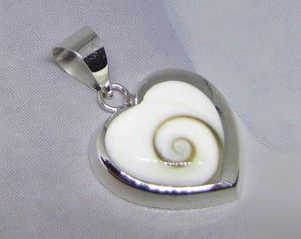 Sterling Silver Shiva Œil heart pendant. Tropical silver jewelry. Silver shell pendant. Women's gift. 925 Sterling Silver Pendant