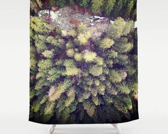 Fabric Shower Curtain  - Aerial Photograph of River, Wilderness, Trees, Rustic Decor, Nature Photography, bathroom,