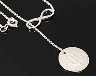 Monogrammed  Infinity Necklace, Sterling silver necklace. Engraved Necklace