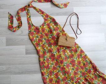 Vintage 70's Poppy Floral Backless Linen Halter Sun Dress S or M