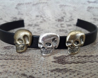 Passing skull, silver or brass for leather 10 mm to 12 mm