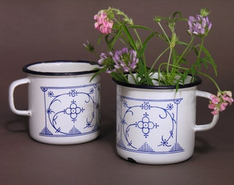 Vintage White and Blue Enamel Coffee Mugs - Made in France - Vintage Cottage Enamel Tableware - Boho Chic Kinfolk Trend - Retro Wedding