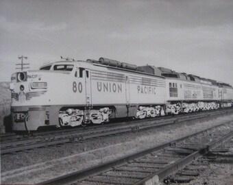 Vintage Black and White Photo Union Pacific Train RailRoad
