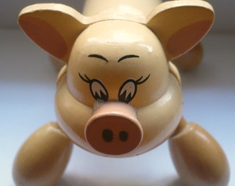 Vintage massage toy wooden small pig figure