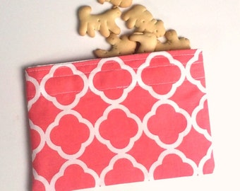 Reusable Snack Bag, Sandwich Bag in Coral, Preppy, Zero Waste Lunch