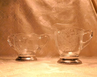 Vintage Etched Floral Creamer And Matching Sugar Bowl With Sterling Silver Base Beautiful Design Special Occasion Or Wedding Table Decor