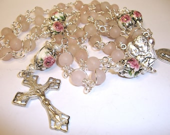 Catholic rosary, unbreakable rosary, wire wrapped rosary, mother and child, pink quartz,Abundant Grace Rosaries, Indylin 5 decade rosary