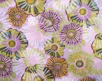 Floral pink cotton voile fabric