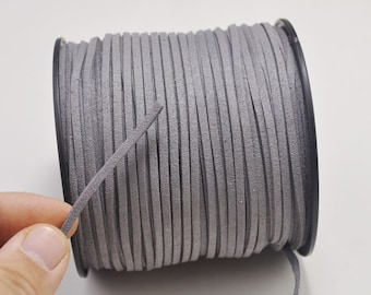 2.7mm grey Suede Leather Cord,100 yards(One Roll) Microfiber,Vegan Suede,DIY Cord Supplies,Flat Faux Suede Cord,Supplies -- 25#