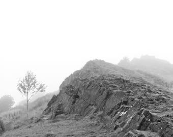 Fog Mountain Landscape Art Print, Black and White Nature Photography Gray Zen Rustic Scotland Wall Art Wall Decor