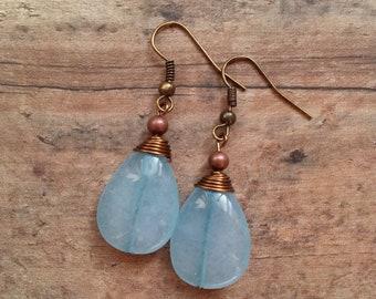 Stone Drop Earrings, Blue Stone Earrings, Wire Wrap Earrings, Rustic Earrings, Blue Boho Earrings, Blue Dangle Earrings, Raw Stone Earrings