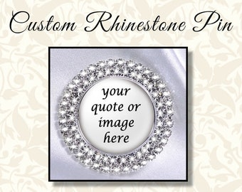 Custom Rhinestone Pin, Mother of the Bride Brooch, Mother of the Groom Brooch, Your Choice of Design, Lapel Pin, Family Designation Jewelry
