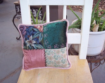 Green & Mauve Tapestry and Brocade Pillow
