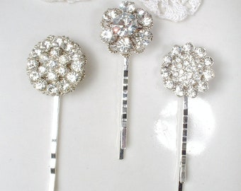 Art Deco Vintage Wedding Rhinestone Bridal Hair Pins, Downton Abbey Hair Clips, Bridesmaids Gifts Silver Crystal Hair Accessories Set 3 4 5