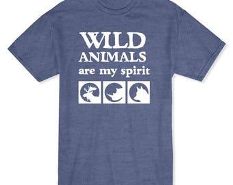 Wild Animals Are My Spirit Funny Men's Heather Grey T-shirt