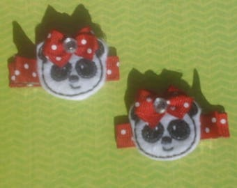 Panda Hair Clips ready to ship cute smiling pandas with red bow embroidered felt hair bows