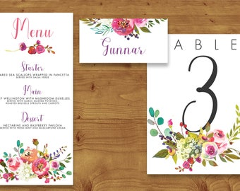 Bright Summer Watercolour Floral Wedding Place Cards, Table Numbers, Menu Cards - Table Name - Name Card - Wedding Stationery