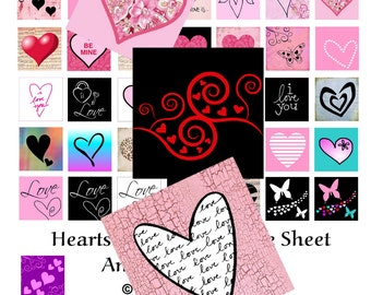 Hearts and Love - Instant Download - Digital Collage Sheet - 1 inch Square - 50 Different Images
