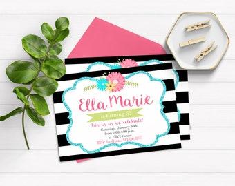 Birthday Invitations for Girls 13th Birthday Invitations Girl Birthday Invitations Black and White Birthday Invitations Teen Girl Invitation