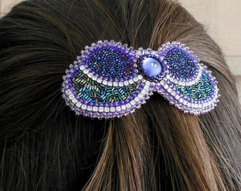 French Barrette For long hair Butterfly Hair Metal hair barrette Green Purple Swarovski Bead Embroidered Hair jewelry Long hair accessory