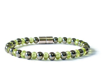 Black Magnetic and Peridot Therapy Bracelet, Health Bracelet for Women