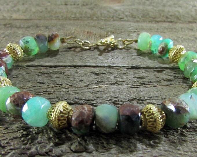 Chrysoprase & Vermeil Bead Bracelet, Green Bracelet, Gemstone Jewelry
