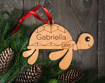 Wood Sea Turtle Ornament: Personalized Name, Ocean, Beach, Coastal, Nautical Ornaments, Baby's First Christmas, Boy or Girl