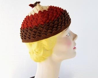 Vintage 1930s Hat | Acorn Hat | Felt Beanie