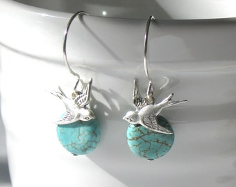 Fly Away Dainty Earrings, Magpie Sparrow Bird Earrings, Turquoise Sterling Silver, Dangle Drop, Simple Delicate Everyday, Christina Guenther
