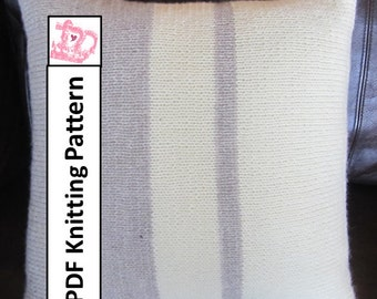 "PDF KNITTING PATTERN, knit pillow cover pattern, Asymmetric Stripe 18""x18"""