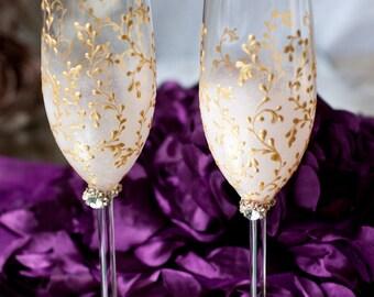 Wedding Toasting Flutes, Wedding Champagne Flutes, Bride and Groom Champagne Glasses, Blush Pink and Gold Wedding Glasses, Wedding Gift, Set