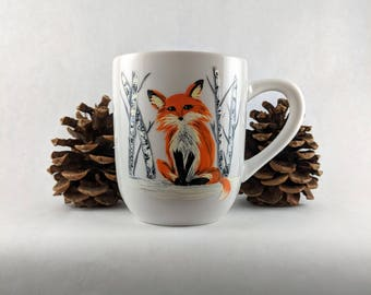 Fox Mug | Birch Trees, Hand Painted Mug, Mug with Fox, Fox Coffee Mug, Fox Gift, Painted Coffee Mug, Mug Gift, Coffee Cup, Gift for her