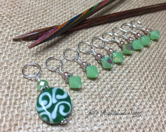 Green Beaded Stitch Markers- Snag Free Knitting Markers- Gifts for Knitters