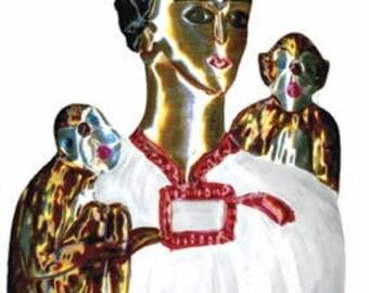 Tin Frida Kahlo with Monkeys Ornament