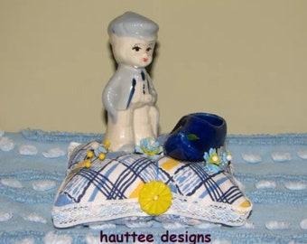 Vintage Dutchboy Clog Figurine Pincushion Handmade Buttons Feedsack