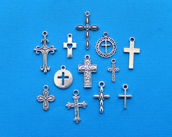 Cross Charm Collection Antique Silver Tone 12 Different Charms - COL018