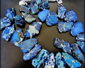 FRACTURED NIGHT ~ Bold Sapphire Blue Sediment Jasper, Sterling Necklace