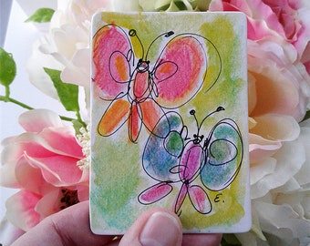 Original Watercolor Painting Drawing Butterflies ACEO ATC