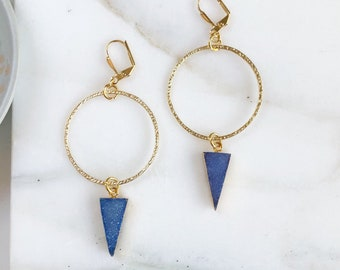 Statement Earrings with Violet Druzy and Gold Hoops. Long Stone Earrings. Gold Statement Earrings. Jewelry Gift.