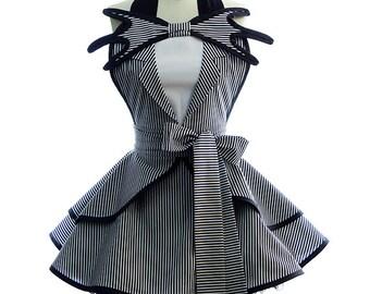 Retro Apron - Aprons for Women - The Pumpkin Queen Sexy Womans Aprons - Vintage Apron Style - Tuxedo Pin up Skellington Halloween