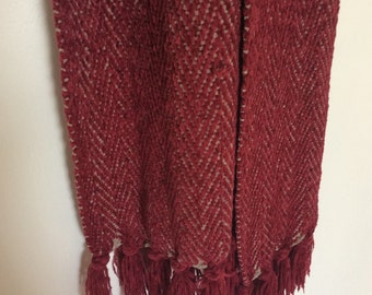 Maroon with Grey Under-Stitched Scarf