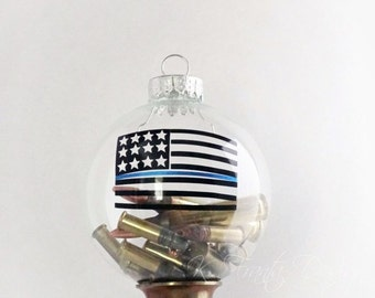 American Flag Ammo Thin Blue Line Clear Glass Ornament Ammo NOT included